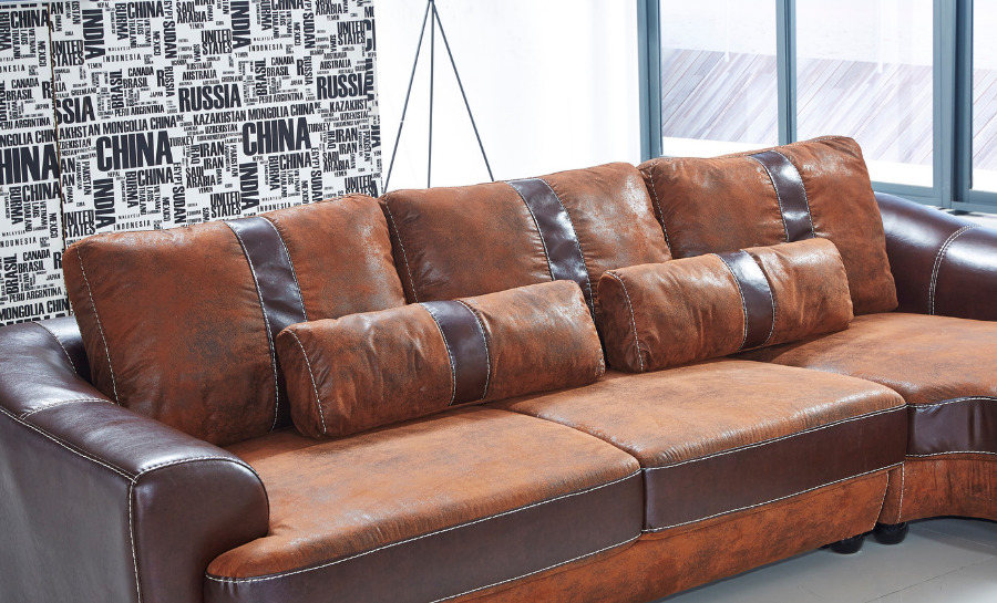 Suede/Leather Sofa Lounge Set