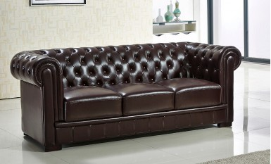 Europa Chesterfield 3 Seater Leather Sofa