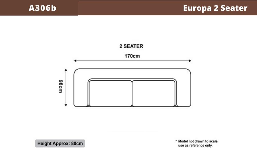 Europa 2 Seater Leather Sofa