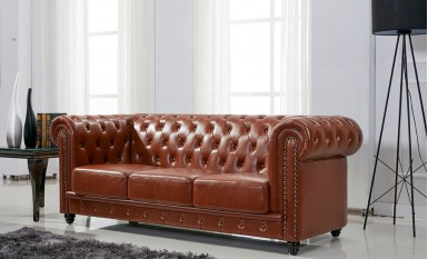 Europa A Chesterfield 3 Seater Leather Sofa