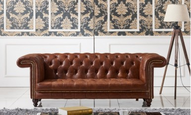Chestnut Chesterfield 3 Seater Leather Sofa