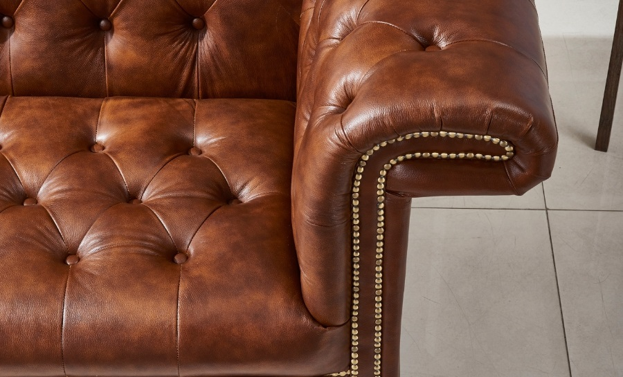 Chestnut 3 Seater Leather Sofa