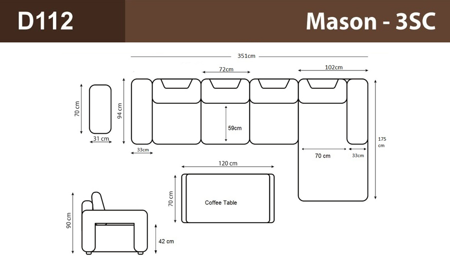 Mason- 3SC Leather Sofa Lounge Set