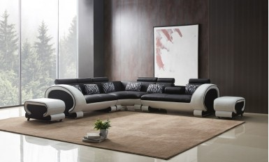 Senza - L - Leather Sofa Lounge Set