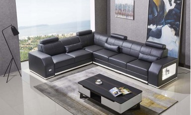 Emma - L- Leather Sofa Lounge Set