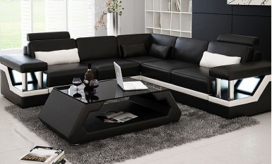 Selvatore -  L- Leather Sofa Lounge Set