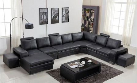 Janice - U Leather Sofa Lounge Set