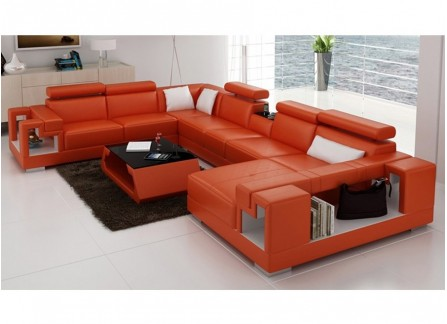 Lumere - U Leather Sofa Lounge Set