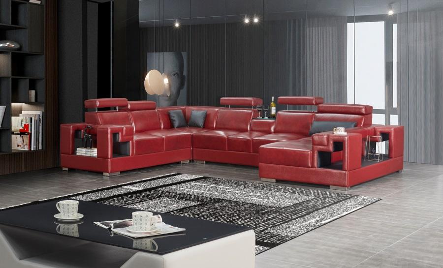 Lumere - U Leather Sofa Lounge Set