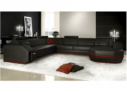 Emma - U Leather Sofa Lounge Set