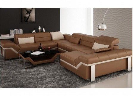 Beatrix - U - Leather Sofa Lounge Set