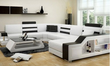 Tessie - U - Leather Sofa Lounge Set