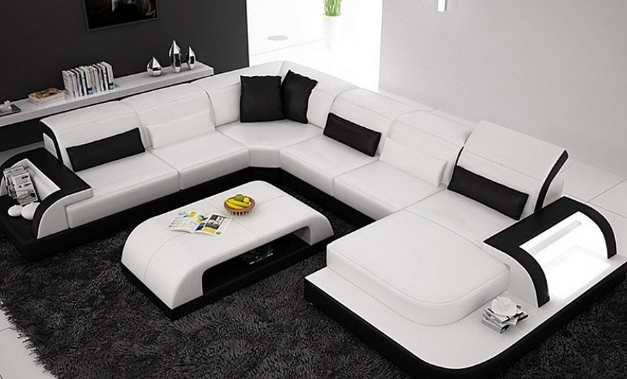 Orion - U Leather Sofa Lounge Set