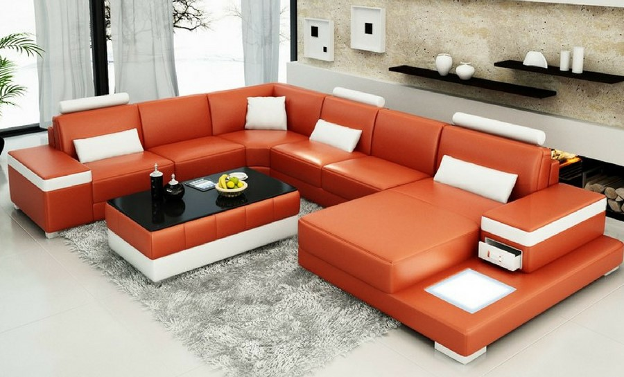 Juliet - U - Leather Sofa Lounge Set