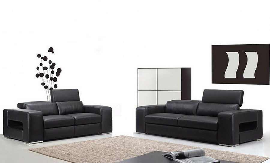 Boxstripe Leather Sofa Lounge Set