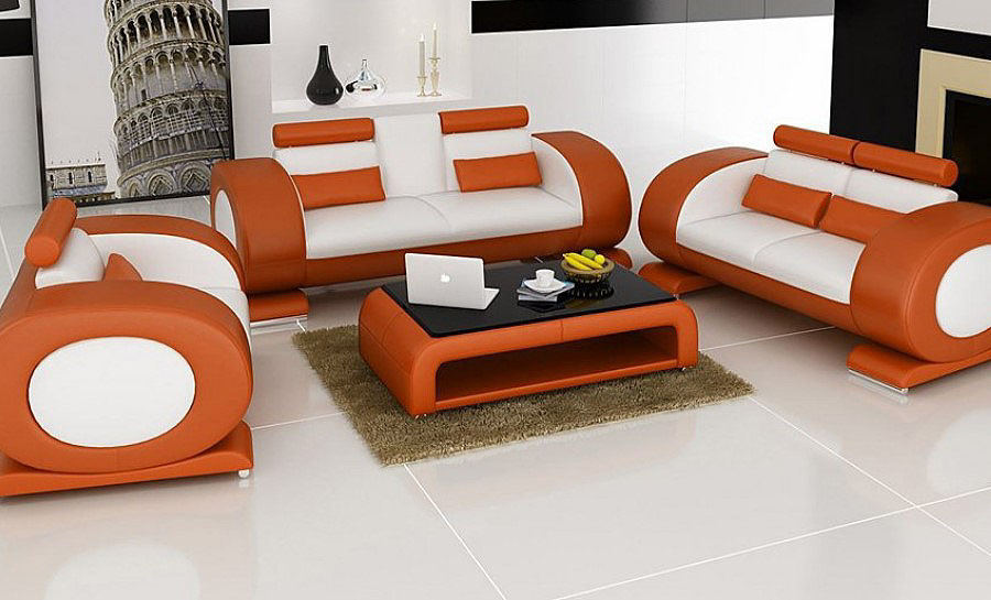 Geneva Leather Sofa Lounge Set