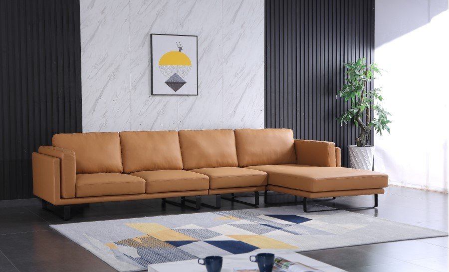 Archer Leather Sofa With Chaise