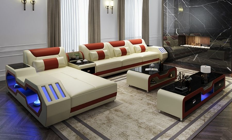 Explorer Leather Lounge With Chaise