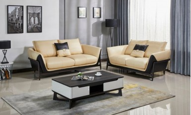 Onyx Leather Sofa Lounge Set